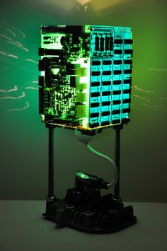 Syntax lamp  Upcycled circuit board lamp