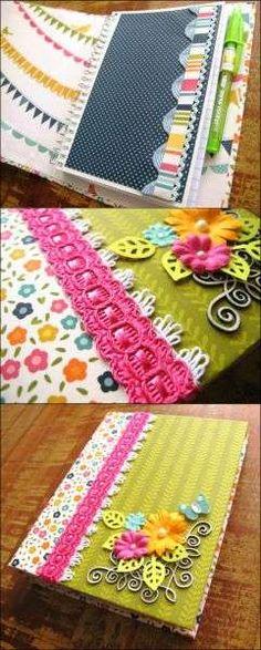 Você pode fazer uma capa para caderno de anotações, que depois pode ser usada em outro caderno, quando o primeiro estiver completo.