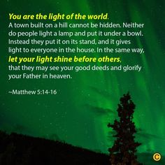 Is your light shining for others to see? Biblical Inspiration, Light Of The World, Northern Lights, Encouragement, Let It Be, Inspiration, Aurora, Nordic Lights, Aurora Borealis