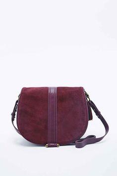Deena & Ozzy Suede Tassle Bag in Burgundy