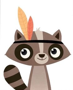 Raccoon Illustration, Cute Illustration, Autumn Painting, Painting For Kids, Raccoon Art, Woodland Nursery Prints, Motifs Animal, Personalised Canvas, Cute Fox