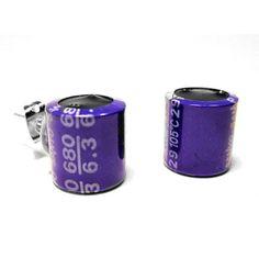 Computer Capacitor Earrings Purple Computer Jewelry