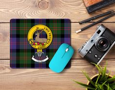 Rubber mousemat with Blair clan crest and tartan - only from ScotClans