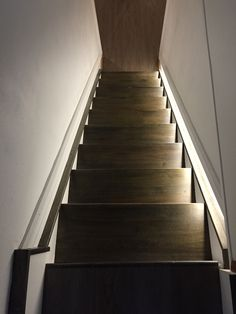 LED Lighting Gray Stained Staircase Oak Stair Treads White and Gray Basement Staircase www.qtheshoe.com