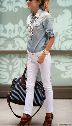 Another one of my spring/summer work faves: white skinnies, chambray, and a white necklace