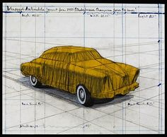 Wrapped Automobile (Project for 1950 Studebaker Champion, Series 9 G Coupe), by Christo and Jeanne-Claude. In this lithograph by the remaining member of the internationally renowned artist duo Christo and Jeanne. Gropius Bau, Berlin, Christo And Jeanne Claude, Milwaukee Art Museum, Collage, Pop Art, Automobile, Contemporary, Modern Art