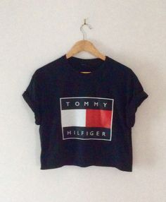 8920dade6c9 classic black tommy hilfiger crop top swag by 0BubblegumBoutique0 Tommy  Hilfiger Shirts