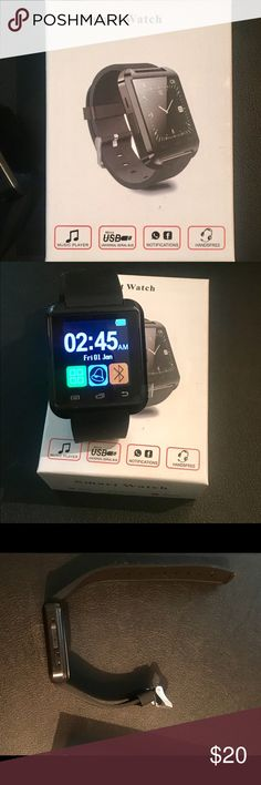 NIB, Smart Watch. For Android only NIB, smart watch. ONLY WORKS WITH ANDROID. Uses blue tooth to connect to android based smart phones.         Functions: answers and dials calls, alarm clock, music play, stopwatch, phonebook, vibration, pedometer, anti-slide reminder, remote camera, FM radio.                           I have never used this, I did charge it to confirm that it works, however I only have apple products and I am unable to connect it..     **Please note this only works with…