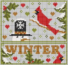 Biscornu 4 Seasons, part 4 - Winter... no color chart available, just use pattern chart as you color guide... or choose your own colors...  gazette94: HIVER