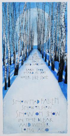 In the bleak mid winter by samcannonart Watercolor Illustration, Watercolor Art, Sam Cannon, Art Du Collage, Gouache, Perspective Art, Winter Art, Christmas Art, Xmas