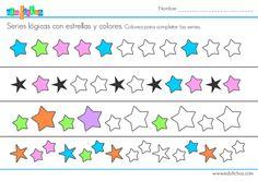 Ficha de actividades de series lógicas con estrellas. Colorea las estrellas en blanco para completar estas series de lógica. Material educativo gratis.