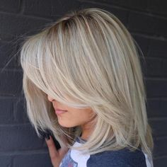 Long Layered Blonde Balayage Bob like color Long Bob With Bangs, Bob Haircut With Bangs, Long Bob Haircuts, Long Bob Hairstyles, Hairstyles With Bangs, Long Side Bangs, Pixie Haircuts, Layered Haircuts, Braided Hairstyles