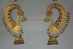 Gold full ear ornament with precious stone beads, in ancient south Indian style ( jhumka by Bhimajewelers) Full Ear Earrings, Nose Earrings, Gold Jhumka Earrings, Indian Jewelry Earrings, Indian Wedding Jewelry, Ear Jewelry, Bridal Jewelry, India Jewelry, Earings Gold