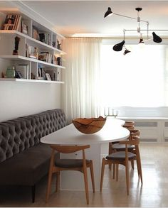 Long, tufted banquette