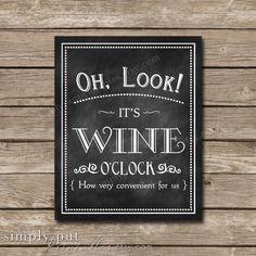 Oh Look It's Wine O'Clock Chalkboard Sign by SimplyPutPrintables Chalkboard Doodles, Chalkboard Signs, Chalkboards, Wine Tasting Party, Wine Parties, Wine Wall Art, Kitchen Wall Art, Wine Craft, Wine Bottle Crafts