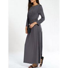 Long Sleeve Jewel Neck Pure Color Dress — 13.71 € ---------------Size: L Color: DEEP GRAY