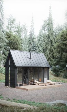 Scandinavian house on Behance - Architecture Tiny House Cabin, Cabin Homes, Scandinavian House, Scandinavian Architecture, Ideas De Cabina, Tiny House Exterior, Weekend House, Small Buildings, Cabin Design