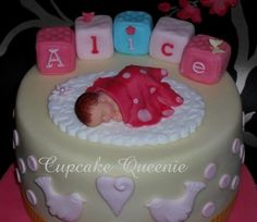 Alice Christening cake, close up of sugar sleeping-baby | Flickr - Photo Sharing!