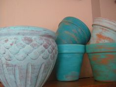 Terra cotta pots with a distressed paint finish | Reduce, Reuse, Renewed