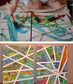 Masking tape art perfect for a child!! :) just let them paint however and put the tape on at different angles and you can hang it up in their room :)