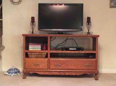 entertainment center oak update redo, diy, painted furniture, repurposing upcycling