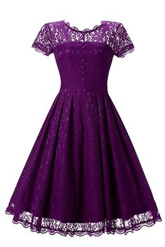Star Finch Retro Floral Lace Prom Dresses Short Homecoming Dresses Cap Sleeves Vintage Cocktail Bridesmaid Dresses, Purple S