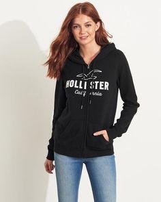 Filles Sweat à capuche et logo zippé sur toute la longueur | Filles | HollisterCo.com Full Zip Hoodie, Logos, Adidas Jacket, Hooded Jacket, Hoodies, Jackets, Clothes, Fashion, Hoodie Sweatshirts