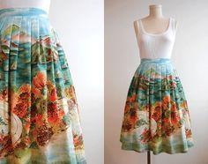 Vintage 1950s Skirt / Pleated Scenic Border Print Full Skirt. $148.00, via Etsy.