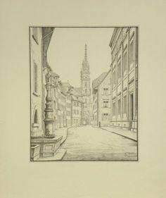Künstler Niklaus Stoecklin  Titel Augustinergasse  Technik Lithografie Sketches, Art, Printing, Draw, Drawings, Art Background, Kunst