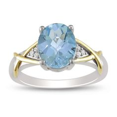 Miadora 10k Yellow Gold and Sterling Silver Blue Topaz and Diamond Accent Ring (Size 5.5), Women's