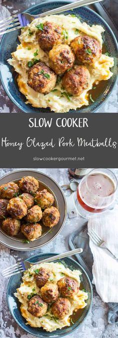 scg-honey-glazed-pork-meatballs-longpin recipes for slow cooker Slow Cooked Meals, Slow Cooker Pork, Crock Pot Cooking, Slow Cooker Recipes, Crockpot Recipes, Cooking Recipes, Meat Meals, Meat Pies, Crock Pots