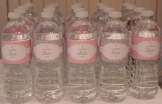 Polka Dot Baptism- Pink and Grey Water Bottle Wrappers- Print your own. $7.00, via Etsy.