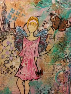 Mixed media canvas using a Julie Nutting stamp.