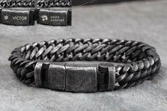 Monogram Rustic Dark Grey Titanium Bracelet