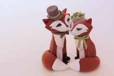 Redish Fox Wedding Cake Topper by TopThatCakeOff on Etsy