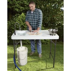 Fish Cleaning Camp Table with Flexible Faucet
