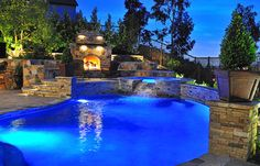 Traditional Pool with Fireplace - traditional - pool - orange county - by Fluid Dynamics Pool and Spa Inc. Just right.