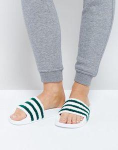 8c6680023eb8e adidas Originals White And Green Towelling Adilette Slider Sandals  Riemensandalen
