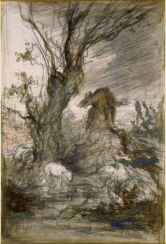 """wetreesinart: GustaveMoreau (Fr. 1826-1898),Le Loup et l'Agneau. Esquisse pour les """"Fables de La Fontaine"""",aquarelle, 28,5 x 19,5cm,Paris, musée Gustave Moreau"""