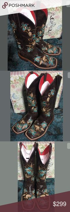 Macie bean lily-Ana glitterific cowboy boots 9.5 M New in box, the salesperson convinced me to go 1/2 size down so they would form to my foot but I can't wear them for more than 2 minutes sitting on the couch without them hurting so I will never wear them!  Gorgeous brown glittered leather with aqua floral embroidery. Anderson Bean Shoes Heeled Boots