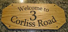 Address sign made for a client. House Address Sign, Personalized Signs, Woodworking Shop, Bamboo Cutting Board, Are You The One, Canning, How To Make, Home, Personalised Signs