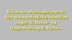 Vikar for afdelingslæge til den neonatologiske funktion søges til Børne- og Ungeafdeling E, Herlev...