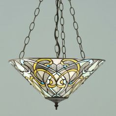 Dauphine Inverted PendantElegant Art Nouveau style with shimmering translucent glass. H:400-660 W:400 D:400 Bulbs:3 x 60 E27 Fittings:SU3C/ADJ Shade:T023SH40