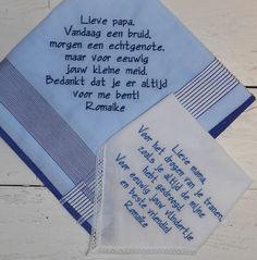 Wedding zakdoeken geborduurd www.bruiloftzakdoekje.nl