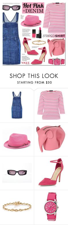 """Street Style - White And Hot Pink Striped Shirt + Denim"" by anyasdesigns ❤ liked on Polyvore featuring Current/Elliott, Saint James, Peter Grimm, Loewe, Gucci, New Look, Hoorsenbuhs, Crayo, LVX and Tiffany & Co."