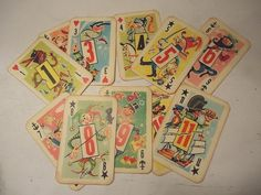 OOAK Table Numbers, Vintage Playing Cards, Vintage Wedding Decor