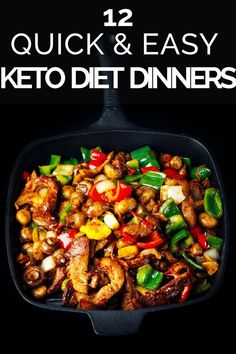 Looking for quick and easy keto dinner recipes? Check out this collection of ketogenic dinners you can make in 30 minutes or less! Whether youre looking for low carb chicken fish or shrimp or keto friendly beef pork steak or hamburger youll find a Clean Eating Recipes For Dinner, Low Carb Dinner Recipes, Keto Dinner, Diet Recipes, Healthy Recipes, Eating Clean, Quick Recipes, Chicken Recipes, Keto Foods