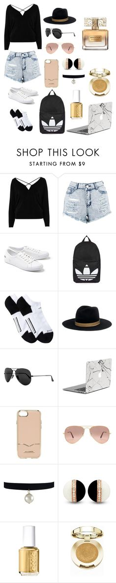 """""""Untitled #36"""" by victoria-reagan on Polyvore featuring River Island, Boohoo, Lacoste, Topshop, adidas, Janessa Leone, Ray-Ban, Rebecca Minkoff, Essie and Milani"""
