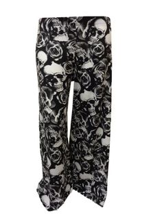 d924b651ea5 XclusiveCollection Womens Plus Palazzo Trousers Skull-Rose Print Skull-Rose     Check out this great product.
