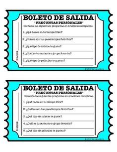 Use this Preguntas Personales exit slips to give students more practice answering questions in the target language.   Questions on exit slip: - What do you do in your free time? - What are your favorite pastimes? - What type of music do you like? - Who is your favorite singer or group? - What type of movies do you like?